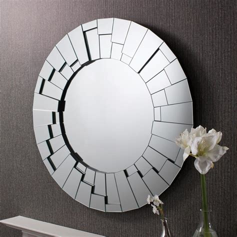 raundin round frameless faceted wall mirror 163 357 00