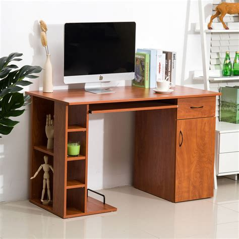 home office computer desk study pc table w storage printer shelves keyboard tray ebay
