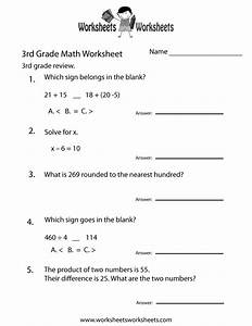 3rd Grade Math Review Worksheet
