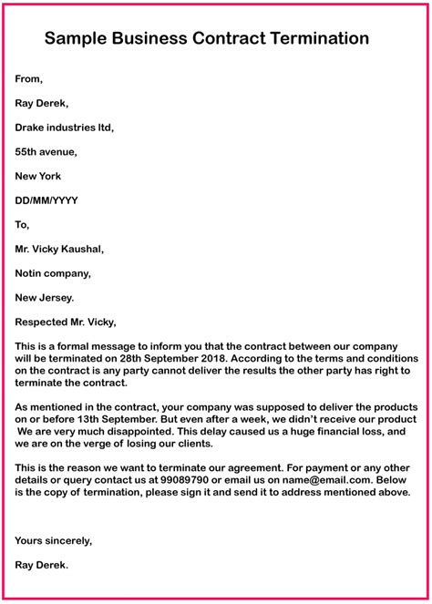 3+ 😃Free Business Contract Termination Letter Templates😃