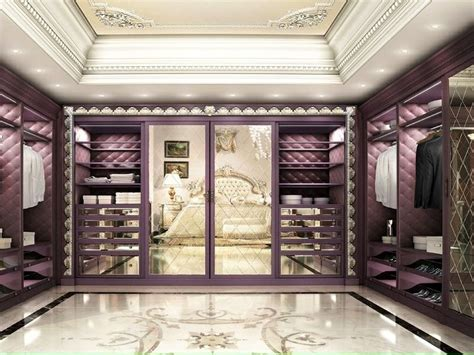 luxury walk in closet custom built in cabinets purple with