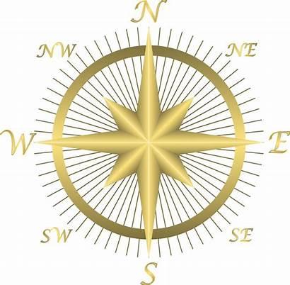 Compass Clip Golden East Clipart Map Directions