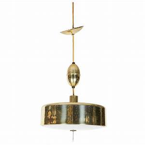 Adjustable drum pendant light in perforated brass for sale