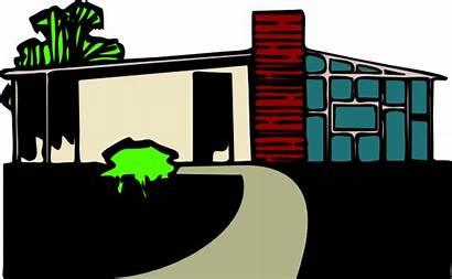 Villa Clipart Clip Giardino Modern Vector Con