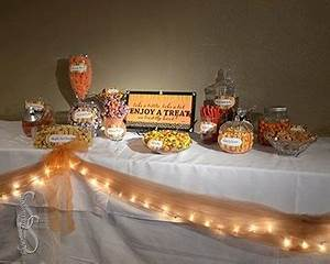 Wedding candy bar / candy buffet, fall-themed With purple ...