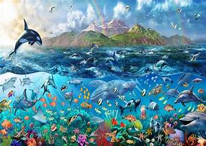 Tropical Sea Life, Ocean Fishes, Orca, Wallpaper Wall Mural