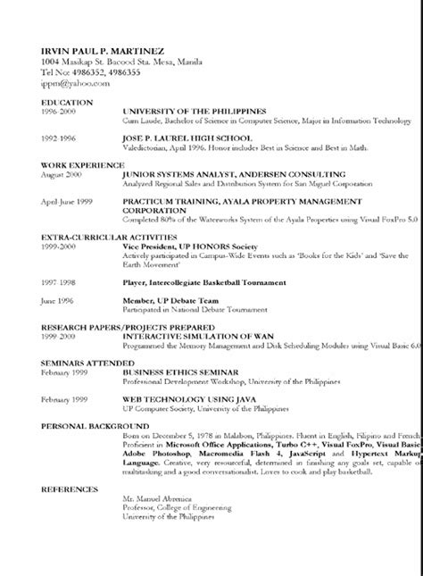 Philippine Standard Resume Format by Sle Resume Undergraduate Student Philippines Cover