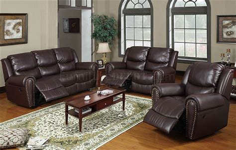 Interior Sofa Set by F7738 Espresso Reclining Sofa Loveseat In Leather By Poundex
