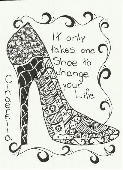 Zentangle Shoes Shoe Coloring Pages Patterns Adult