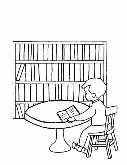 Library Coloring Pages Please Quiet Drawing Dubai