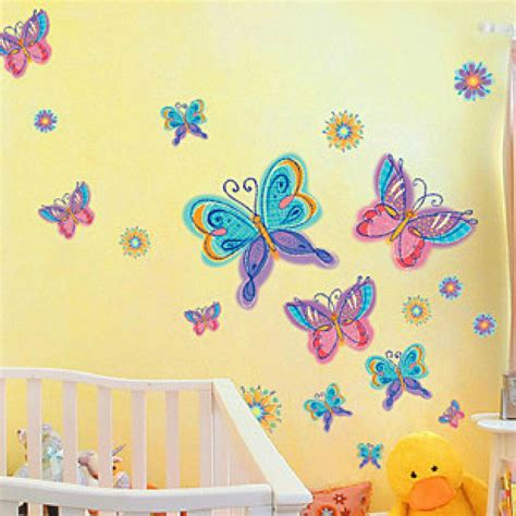 rainbow color butterfly flowers removable wall sticker