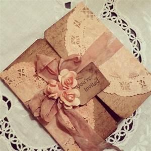 peach doily tri fold rustic invitation with small flowers With tri fold rustic wedding invitations