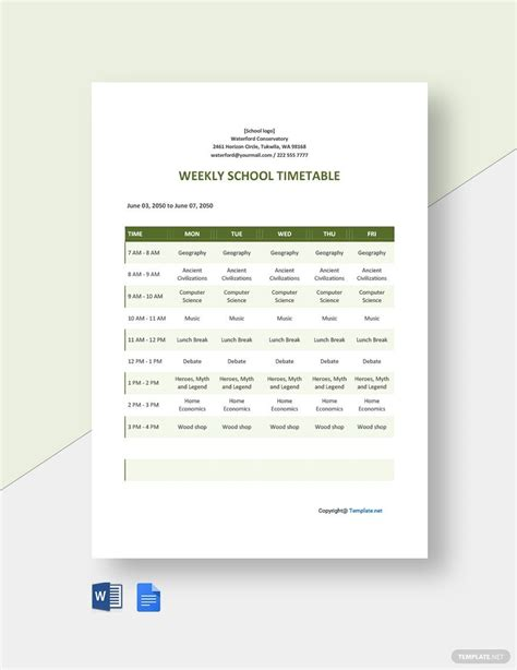 FREE Weekly School Timetable Template - Word (DOC ...