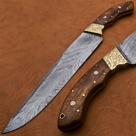 Hand Forged Damascus Hunting Bowie Knife Full Tang