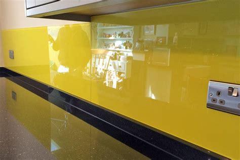 kitchen glass splashback finished  sunflower yellow