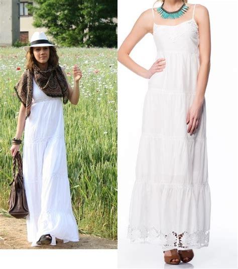 bershka biała maxi długa sukienka koronka gipiural w suknie i sukienki szafa pl