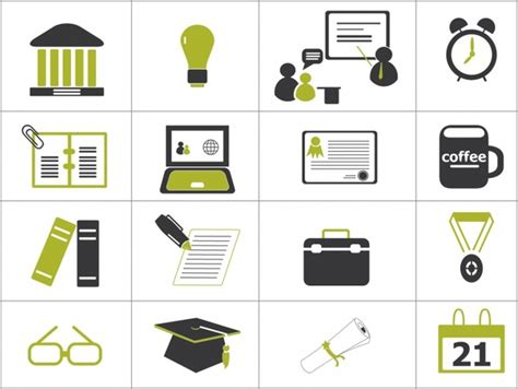 Higher Education Icons Free Vector In Adobe Illustrator Ai