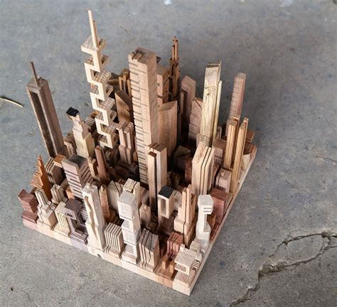 micro metros abstract city models carved  wooden