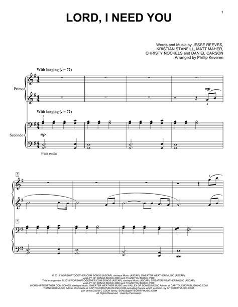phillip keveren lord i need you sheet music