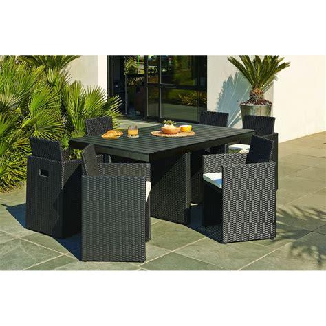 Salon de jardin Encastrable ru00e9sine tressu00e9e noir 1 table + 6 fauteuils | Leroy Merlin