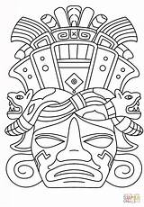Mayan Mask Coloring Drawing Maya Pages Masks Printable Tiki Aztec Ancient Inca Mayans Calendar Supercoloring Civilization African Opera Sydney Mexican sketch template