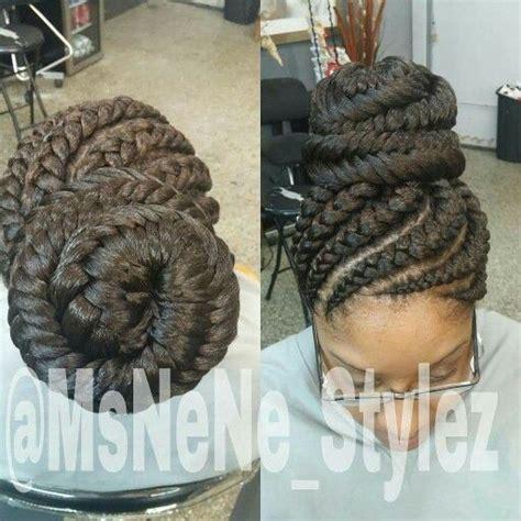 ghana braids   fish tail bun natural hair style