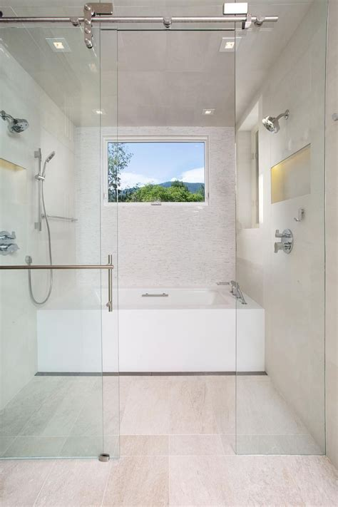 contemporary bathroom incorporates  wet room area