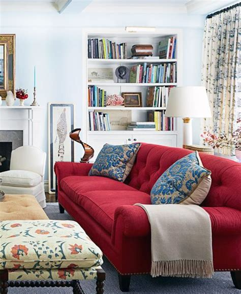 red couch white living room red sofa living room red