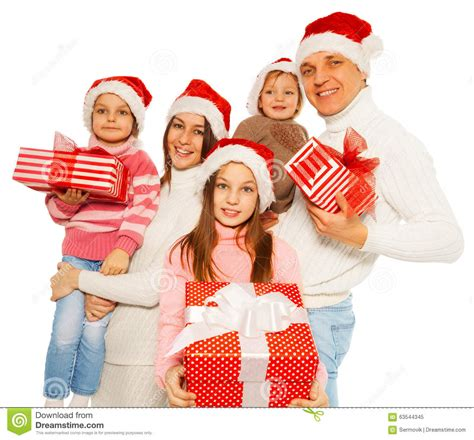 happy family with 3kids hold new year presents stock photo