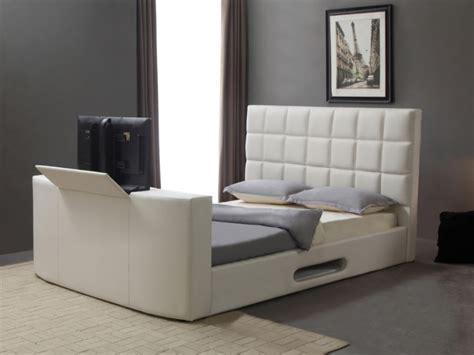 lit design en simili avec système tv intégré 160x200cm