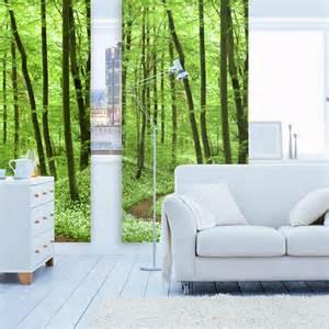 wohnzimmer raumteiler waldblick textiler raumteiler schiebevorhang mit motiv print roomido