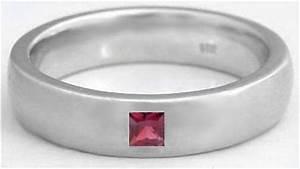 Men39s Princess Cut Garnet Wedding Band With 6mm Comfort