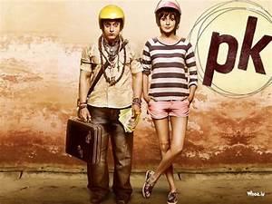 Pk Move Poster With Anushka Sharma And Aamir Khan  With Helmet