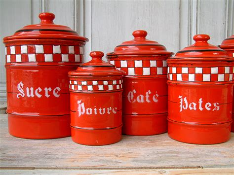 enamel kitchen canisters vintage enamel kitchen canister set with white