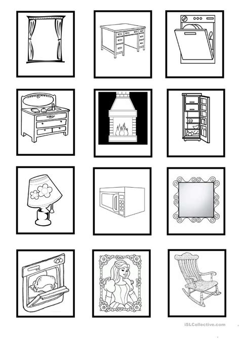 esl household objects worksheets