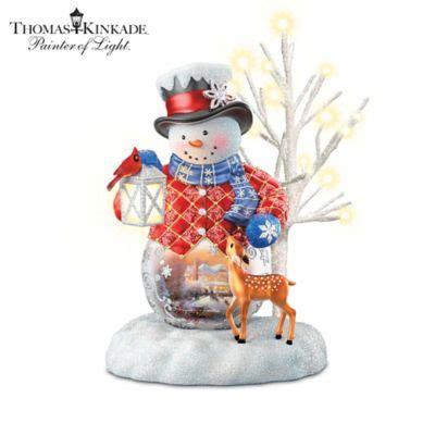 thomas kinkade snow wonderful illuminated snowman figurine