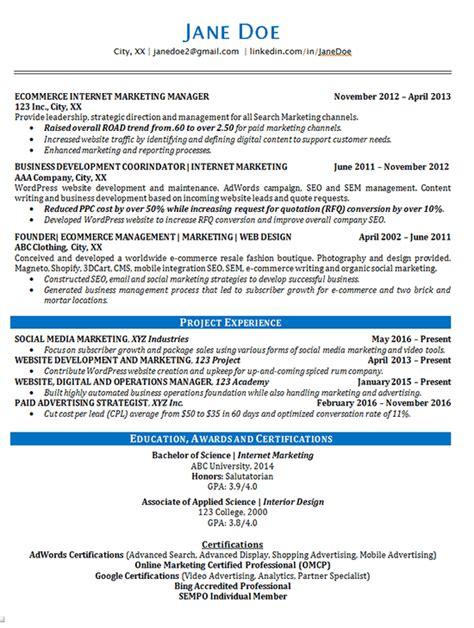 online marketing resume exle seo advertising