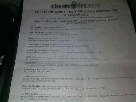 Anybody Else Used To Print Out Their Cheats For Ps2 Games