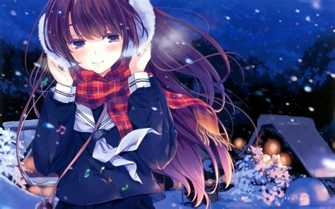 Girly Anime Wallpaper - cold winter nights snow anime hd wallpaper anime