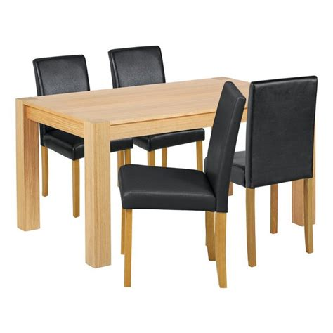 buy collection indiana solid oak table 4 chairs black