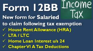 Income Tax Form For Salaried Employee by Form 12bb Claim Tax Exemptions On Hra Lta By Salaried