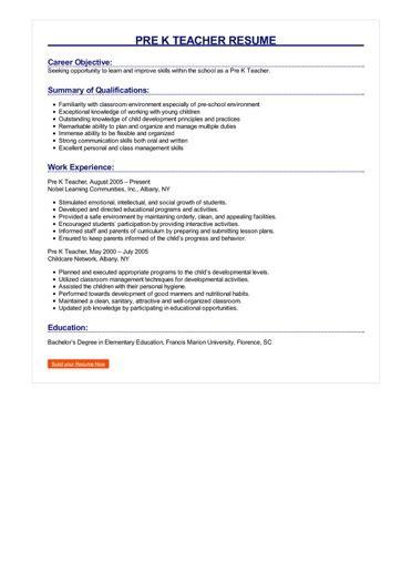 pre  teacher resume great sample resume