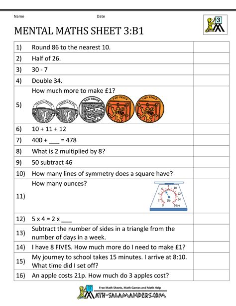 Mental Maths Year 3 Worksheets