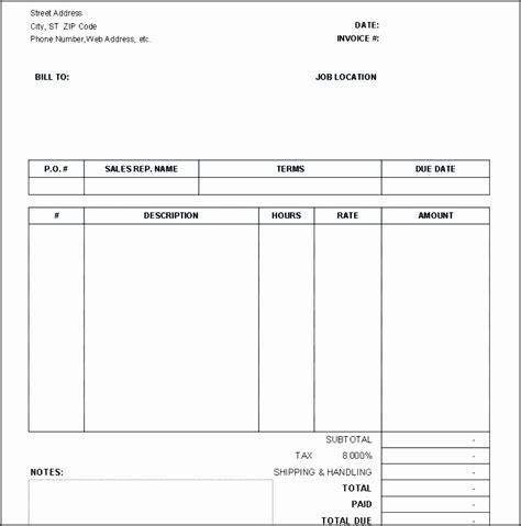 printable invoices templates blank