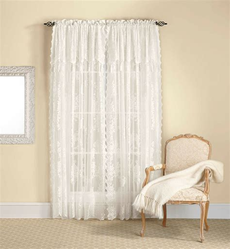 lace draperies lace curtain panel with attached valance tassels