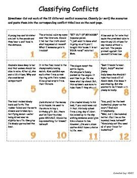 classifying conflict interactive graphic organizer tpt