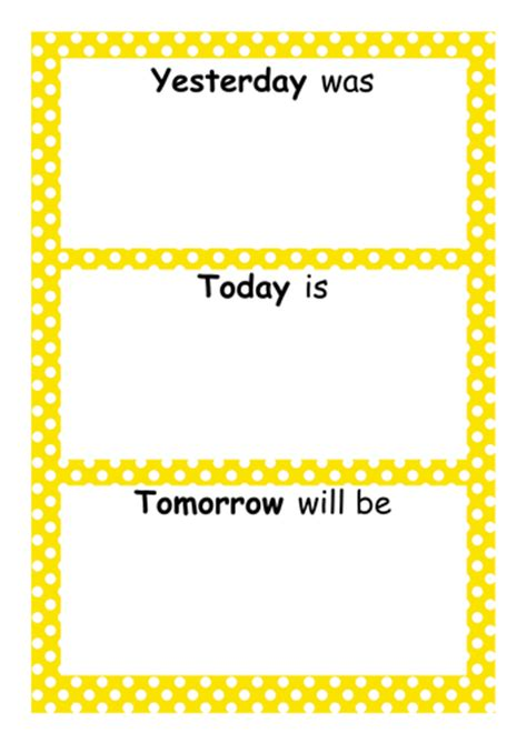 Yesterday, Today, Tomorrow  Days And Months Display By Carolwashy  Uk Teaching Resources Tes