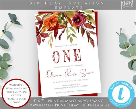Autumn First Birthday Invitation Template Fall 1st