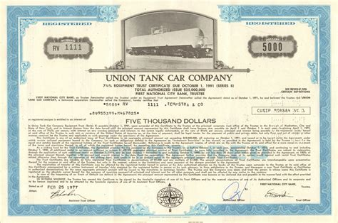 A certificate of currency is normally requested by third parties as confirmation that you have a particular insurance policy in place. Union Tank Car Company bond certificate 1977