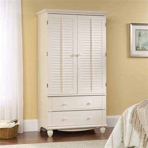 White Wardrobe Armoire by Armoire In Antiqued White 158036
